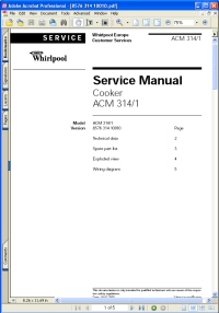 Whirlpool ACM 314/1 Cooker Service Manual Picture