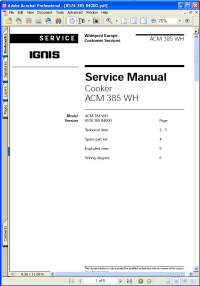 Whirlpool / IGNIS ACM 385 WH Cooker Service Manual Picture