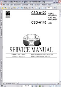 Aiwa CSD-A140 CD / Tape BoomBox Service Manual Picture