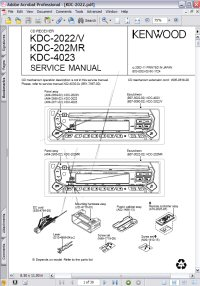 Kenwood KDC-202MR CD Receiver Service Manual Picture