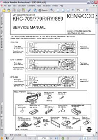 Kenwood KRC-779R M&T Cassette Player Receiver Service Manual Picture