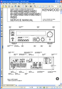 Kenwood KRF-V4060D Audio Video Surround Sound Receiver Service Manual Picture