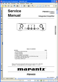 Marantz PM4400 Integrated Amplifier Service Manual Picture