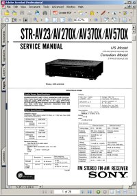 Sony STR-AV570X FM Stereo FM-AM Tuner Receiver Service Manual Picture