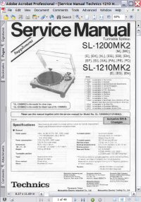 Technics SL-1210MK2 Turntable System Service Manual Picture