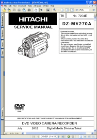Hitachi DZ-MV270A DVD Video Camera Recorder Service Manual Guide Picture