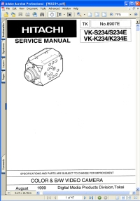 Hitachi VK-K234E Color & B/W Video Camera Service Manual Guide Picture