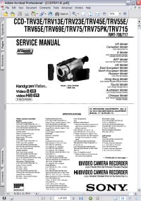 Sony CCD-TRV65E Handycam Video Camera Recorder w/ Remote RMT-708 RMT-717 Service Manual Picture