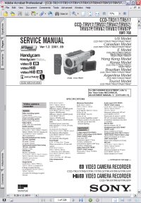 Sony CCD-TRV57P Handycam Video Camera Recorder w/ Remote RMT-708 Service Manual Picture