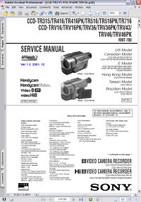 Sony CCD-TR416 Handycam Video Camera Recorder w/ Remote RMT-708 Service Manual Picture