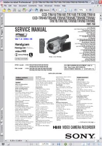 Sony CCD-TRV49E Handycam Video Camera Recorder w/ Remote RMT-708 Service Manual Picture