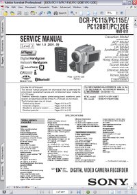 Sony DCR-PC115 Handycam Digital Video Camera Recorder w/ Remote RMT-811 Level 2 Service Manual Picture