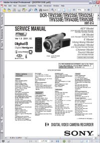 Sony DCR-TRV430E Handycam Digital Video Cassette Recorder w/ Remote RMT-814 Service Manual Picture