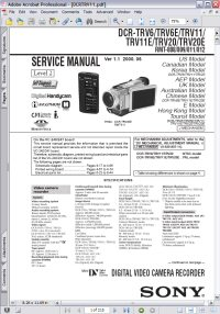 Sony DCR-TRV11 Handycam Digital Video Cassette Recorder w/ Remote RMT-808/809/811/812 Service Manual Picture