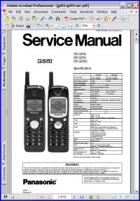 Panasonic EB-GD52 Personal Cellular Telephone Service Manual Picture