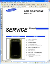 Samsung SGH-F700V GSM Telephone Service Manual Picture