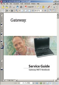 Gateway M675 Series Notebook Laptop Service Guide / Manual Picture