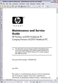 HP Pavilion ze2000 Notebook PC Maintenance & Service Guide Picture