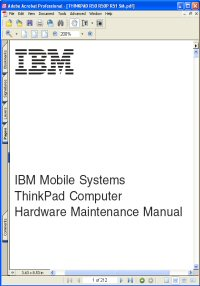 IBM ThinkPad R51 Series Hardware Maintenance Manual / Guide Picture