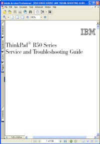 IBM ThinkPad R50 Series Service and Troubleshooting Manual / Guide Picture