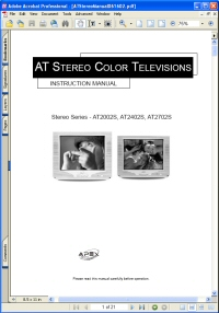 Apex AT2702S AT Stereo Color TV Television Picture