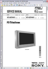 Sony KD-28DX40U FD Trinitron Color TV w/ Remote RM-933 FE-2 Chassis Service Manual Picture