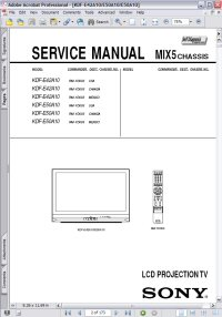 Sony KDF-E50A10 LCD Projection TV MIX5 Chassis w/ Remote RM-YD003 Service Manual Picture