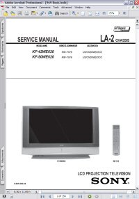 Sony KF-50WE620 LCD Projection TV LA-2 Chassis w/ Remote RM-Y916 Service Manual Picture