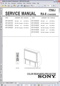 Sony KP-61HS20 Color Rear Video Projector RA-6 Chassis w/ Remote RM-Y908 Service Manual Picture