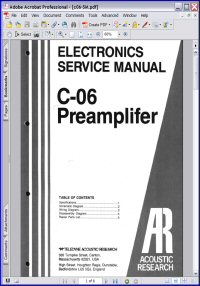 Acoustic Research C-06 Preamplifier Service Manual Picture