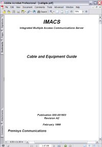 Premisys Communications IMACS Cable and Equipment Guide Picture