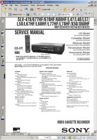 Sony SLV-677HF Video Cassette Player / Recorder VCR Service Manual Picture