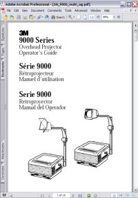 3M 9000 Series Overhead Projector Operator's Guide Picture