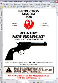 Ruger Bearcat Single Action Revolver .22 Caliber Instruction Manual (SN: > 93-00000) Picture