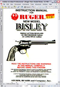 Ruger Bisley Single Action Revolver Instruction Manual Picture