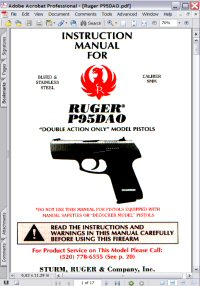 Ruger P95DAO Double Action Revolver Instruction Manual Picture