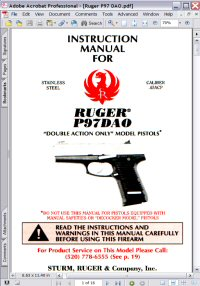 Ruger P97DAO Double Action Revolver Instruction Manual Picture