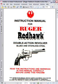 Ruger Redhawk Double-Action Revolver Instructions Manual Picture
