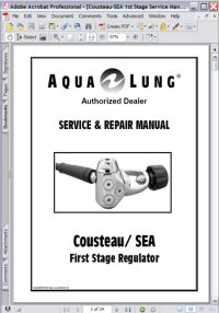 Aqua Lung Cousteau/SEA 1st Stage Regulator Service Repair Manual Picture