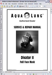 Aqua Lung Divator II Full Face Mask Service & Repair Manual Picture