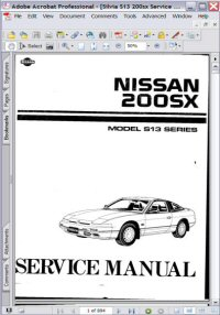 Nissan Silvia 200SX Model S13 Series Service Manual Picture