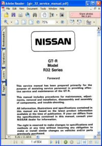 Nissan GT-R Model R32 Series Service Manual Picture