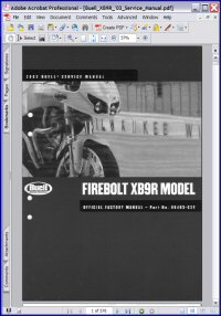 Buell 2003 XB9R Firebolt Model Service Manual Picture