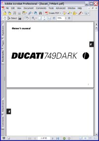 Ducati 749 Dark Owner's Manual Picture