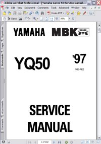 Yamaha Scooter Aerox YQ50 1997 97 Service Manual Picture