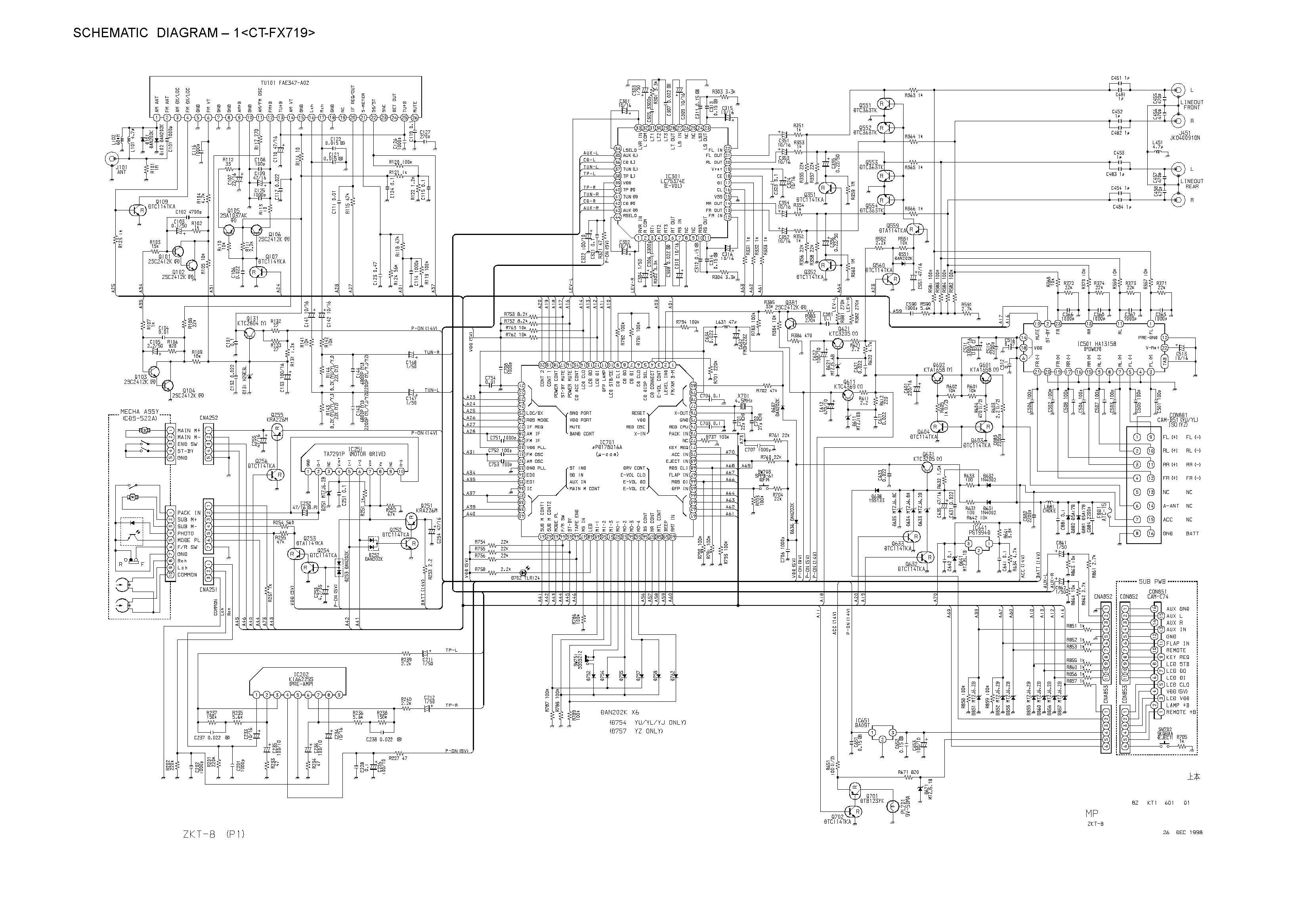 aiwa ct-fx719 schematic diagram  main    front  in pdf format